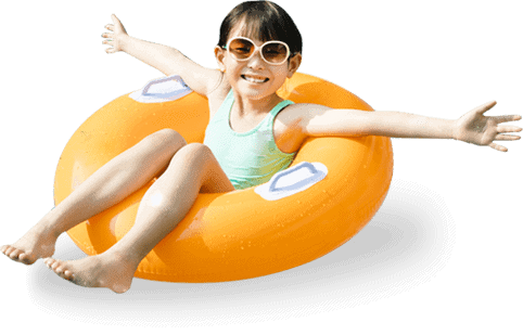 kid swimming with float in swimming pool