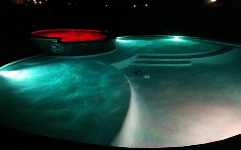 Spa and pool at night