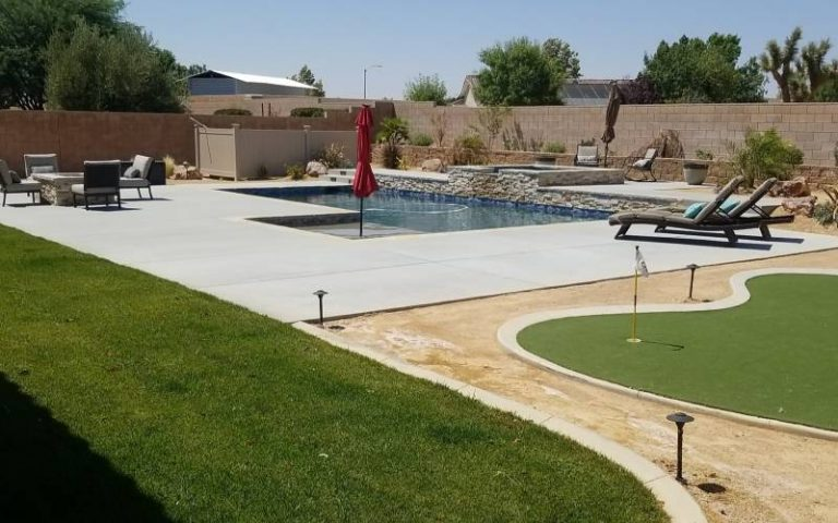 swimming pool with a golf pad